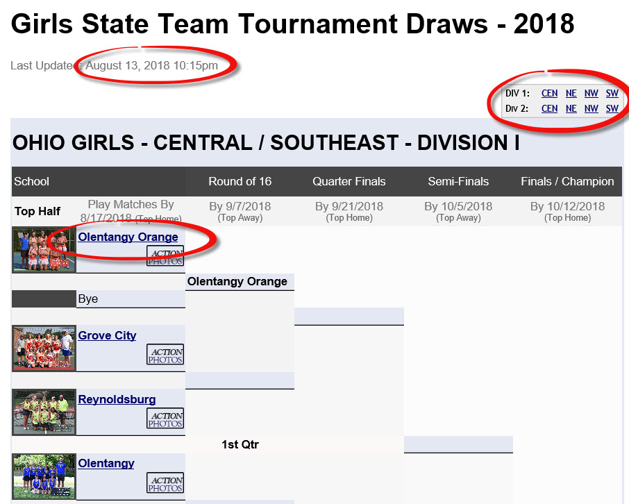 OTCA State Team Draws